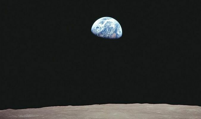 Earthrise, captured by Apollo 8 astronaut William Anders, Dec. 24, 1968, when our planet became visible from a perspective never before seen in human history. NASA PHOTO