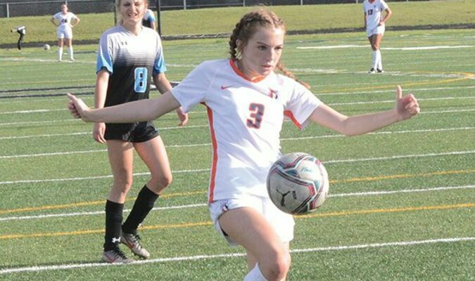 Addie Gilliam controls the ball against Ridgeview. PHOTO BY KELLEY PEARSON