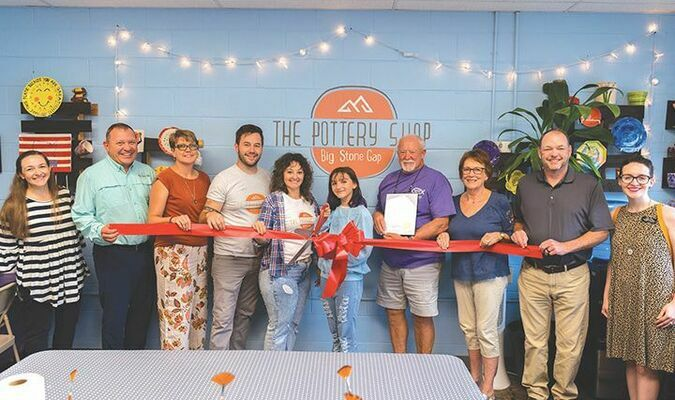Downtown Wood Avenue has another new business. The Pottery Shop opened up next to the Big Stone Gap General Store on Monday, Sept. 20 and was welcomed by members of council.   KED MEADE PHOTO