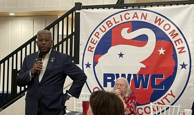 """Lt. Col. Allen B. West addresses Republican Women of Wood County on """"Constitution Day"""" in East Texas."""