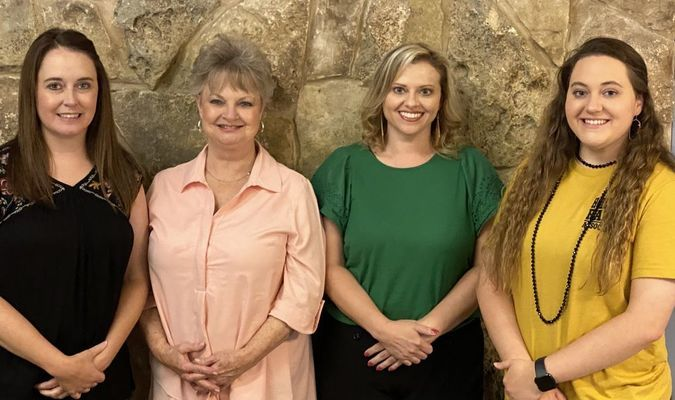 HLRA office staff keeps the Ranch running, (l. to r.) Courtney Burnam, Assistant GM; Mykayla Thibodeaux, rentals and events booking; Patti Palmer, front desk and administrative assistant; Michele Oertwig, HR, payroll & accounting