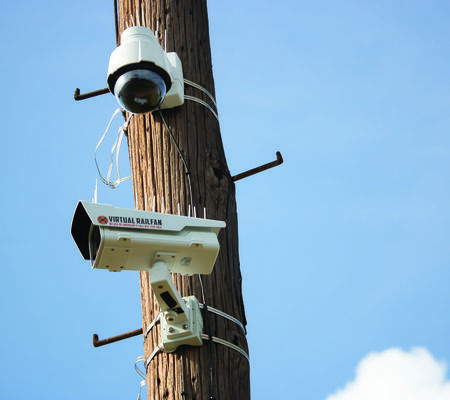 Virtual Railfan cameras mounted beside the tracks.  Photo by Theresa Olson.