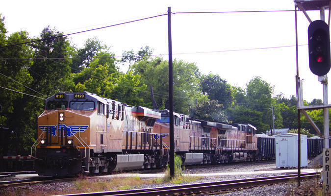 A Union Pacific Train clears the switch headed toward Tyler.  Photo by Theresa Olson.