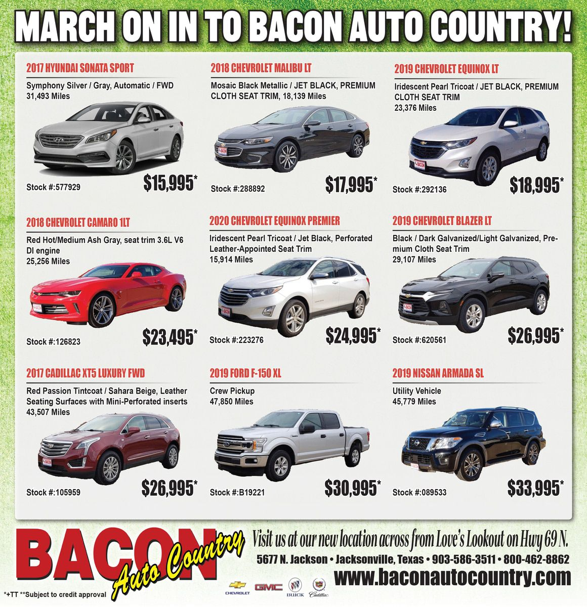 MARCH ON IN TO SAVINGS AT BACON AUTO COUNTRY