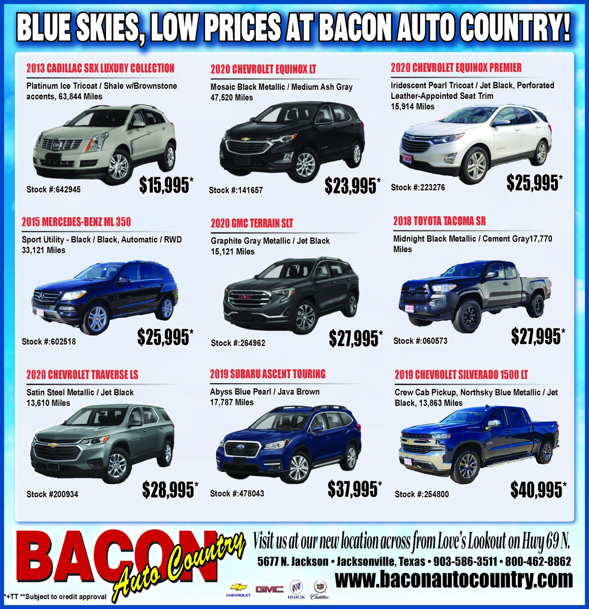Blue Skies and Low Prices at Bacon Auto Country