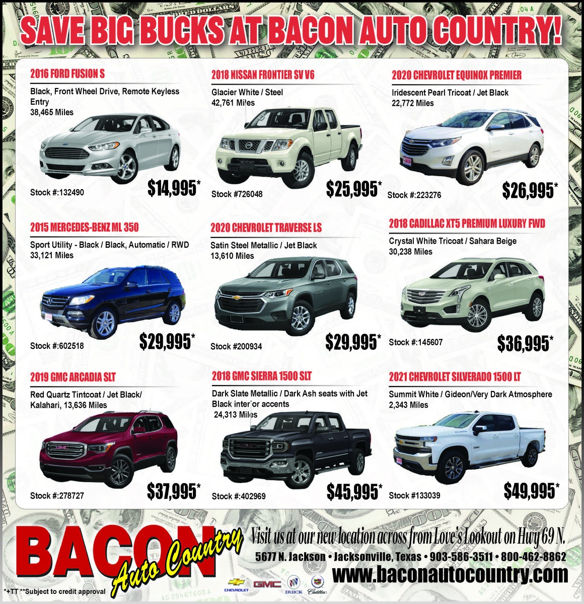 Save Big Bucks at Bacon Auto Country