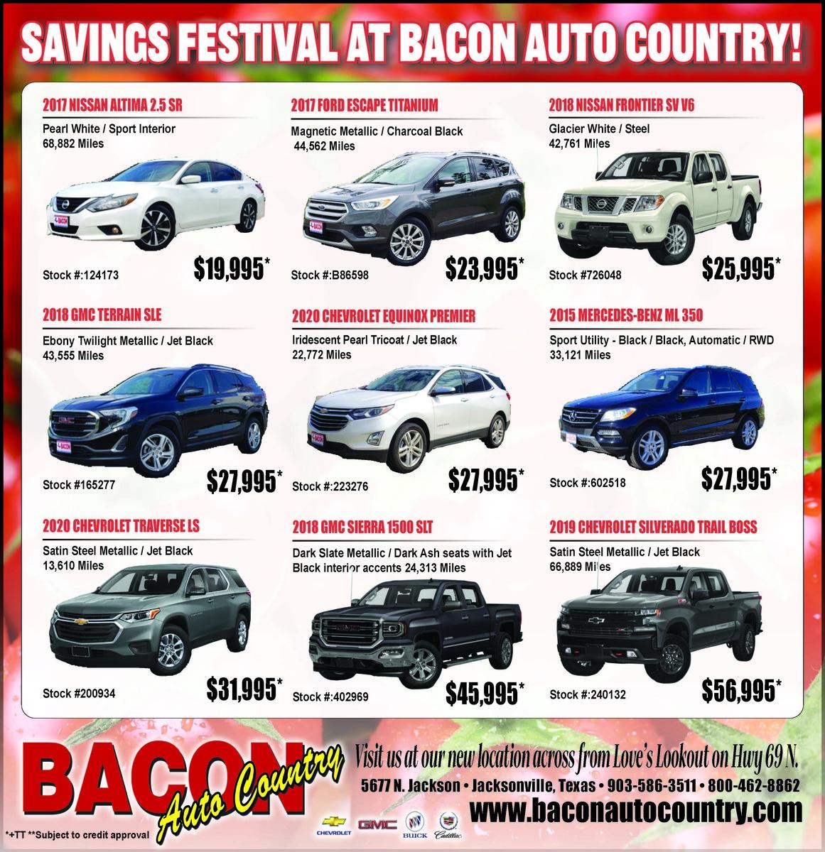 Fresh Savings At Bacon Auto Country