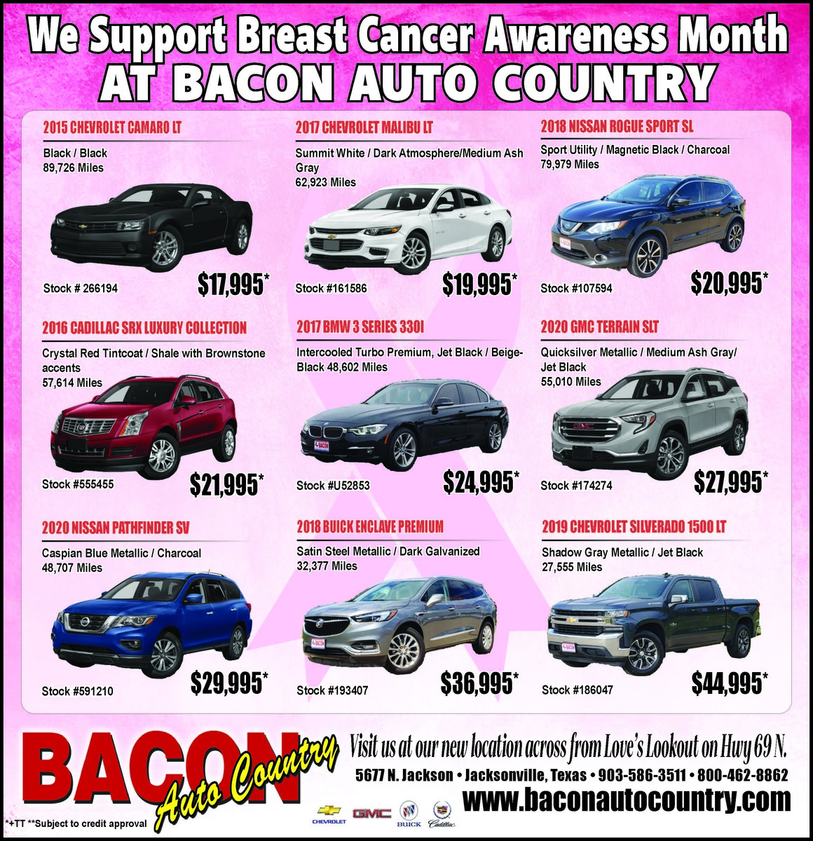 We Support Breast Cancer Awareness Month At Bacon Auto Country