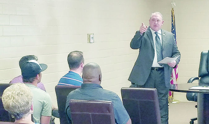 Joe Williams gestures while making a point during the City of Rusk meet-and-greet for candidates for the office of Police Chief. Mr. Williams was hired as Rusk Police Chief and will officially begin his duties Jan. 23.