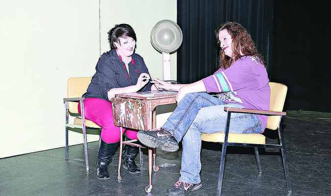 """Josie Fox (left) and Monica Kelley (right) share tales of tribulation at the Spa-Dee-Dah during the Cherokee Civic Theatre's production of """"The Hallelujah Girls."""" The play will debut at 7:30 p.m. Saturday. Tickets are on sale now at www.cherokeetheatre.net or by calling (903) 683-2131."""