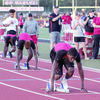 """Photo: Tara Hood  Rusk's Ladadrian Polk (front), Semaj Johnson (middle) and Anthony """"NuNu"""" Hunter (back) prepare to take off at the start of the 400 meter dash at the annual Doug Jordan Relays. For results and pictures, see pgs. 1B and 4-5B."""