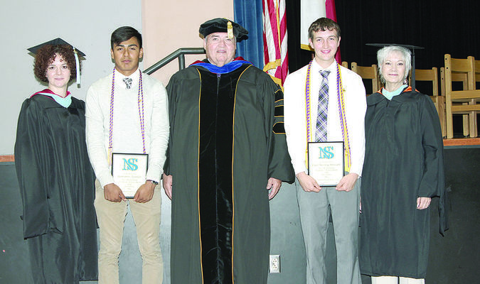 New Summerfield High School seniors Romario Aguilar (second from left) and Wesley Stewart (second from right) both achieved the 60 credit hours of college coursework from Jacksonville College while meeting their requirements at New Summerfield High School. The duo will graduate from New Summerfield May 26 and from Jacksonville College in August. They are pictured with, from left, JC registrar Jodye Jay, president Dr. Michael Smith and academic dean Marolyn Welch.