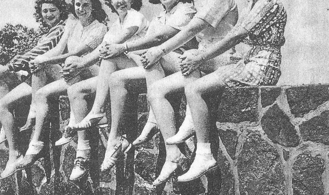 Photographed at Love's Lookout Park are six of the 38 Tomato Princesses selected in 1941. From left are Mildred Dalston of Longview, Katherine Vining of Mount Selman, Ann Stribling of Alto, Bettye Briggs of Terrell, Mary Virginia Orn of Marshall and Rebecca Moren of Frankston.