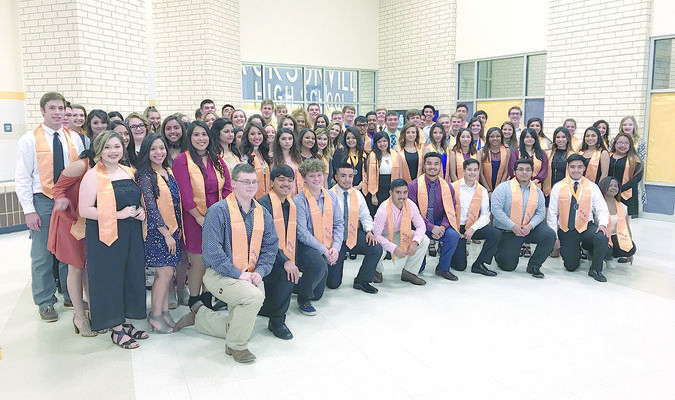 The graduates of Jacksonville's Distinguished Achievement Program pose following the annual scholarship banquet, held May 12 at the Jacksonville High School cafeteria. A total of 99 percent of JHS graduates had a post-secondary plan in place upon graduation.
