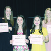 The Rusk Rotary Club Scholarships were awarded to, from left,  Grace Nimitz, Nicole Phifer, Caleigh Reese and Amy Hunt.