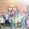 Vacation Bible School was held June 12-16 at Reklaw Baptist Church at 545 Nacogdoches St. in Reklaw.  Pictured is the group picture of students who enjoyed music, crafts, Bible stories, recreation in the jump house and other activities. Church officials said a total of eight children accepted Christ as their Savior.  This event is an annual community outreach sponsored by Reklaw Baptist Church.
