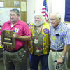 Bobby Tosh is pictured with Rusk Lions Club president Sam Mormino and past Lions Club district governor David Middleton of Alto. Mr. Tosh was honored with the Melvin Jones Fellowship award during the Rusk Lions Club meeting Thursday.