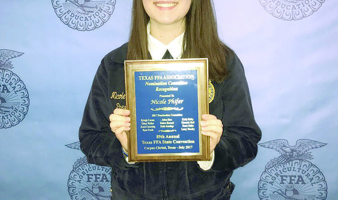 Nicole Phifer of the Rusk FFA was selected to the Texas FFA State Nominating Committee – the first Rusk FFA member to be selected. The committee consists of 11 members from across the state tasked with evaluating and selecting Texas' national and state FFA officers.