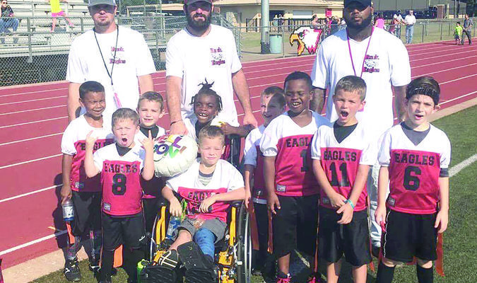 Courtesy photo: Eddie Breen  The Rusk Eagles flag football team is currently second in their division and has solidified a playoff spot despite only having eight to nine available players for the majority of the season. The team concludes the regular season Saturday at Bullard and will kick off the playoffs next week.