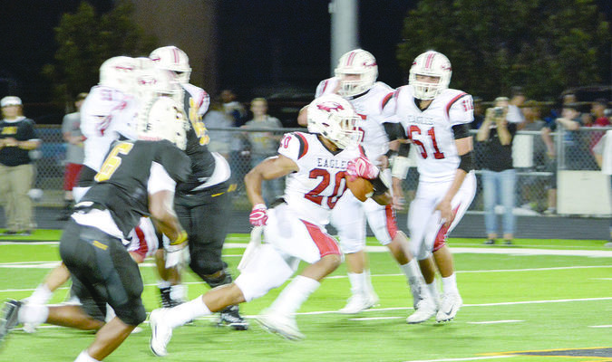 Photo: Jason Crysup  Rusk's Sam Thomas finds open field on a run during a recent game. Thomas finished with 65 yards rushing and 62 yards receiving with a touchdown, but the Eagles fell to Jasper on a last-second touchdown, 35-28. Rusk (5-2, 0-1) will return home to take on Tatum (2-5, 0-1) at 7:30 Friday at Jim Swink Field at Eagle Stadium. The game can be heard on KTLU 1580 AM and at thecube.com/event/rusk-eagles-vs-tatum-eagles-boys-varsity-football-754879.