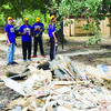 """A group of men's basketball students and Louis Truscott, assistant men's basketball coach, volunteered to help in Houston.  JC President Mike Smith also joined the group. Coach Louis is from Houston and was eager to help his community, but he was not prepared for the destruction he saw. He explained, """"Seeing the damage as we were driving into the disaster area was unbelievable. It was like seeing a war zone."""""""