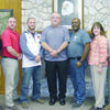 The members of the Rusk School Board are, from left, Rodney Hugghins, board president Britt Patterson, Jake Ocker, board vice-president Jeff Johnson, board secretary Tracy Session, Teresa Phifer and Martin Pepin.