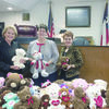 Judge Janice Crosby Stone recently received teddy bears collected by the Kiwanis club of Jacksonville. Judge Stone has been giving bears to children that are adopted in her Court on National Adoption Day and throughout the year since she took office in 2015. Pictured are Judge Stone, Judy Batton and Nancy Washburn with the collection of bears.