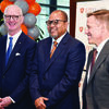 From the left David T. Vandewater, president and CEO of Ardent Health Services; Kirk Calhoun, M.D., F.A.C.P., president of UT Health North Campus Tyler (formerly UT Health Northeast), and chairman of the UT Health East Texas health system 10-person board of directors; and Moody Chisholm, president and CEO of UT Health East Texas; pose for a photo at a news conference in Tyler on March 1.
