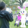 Photo: Cristin Parker  The Easter Bunny poses with Rusk residents Tyuna Jones and Kenslei Hooker, while mom Kendra Watkins snaps a picture. Mr. Bunny, invited by the Rusk Chamber of Commerce, was available for pictures during the Easter egg hunt held Saturday.