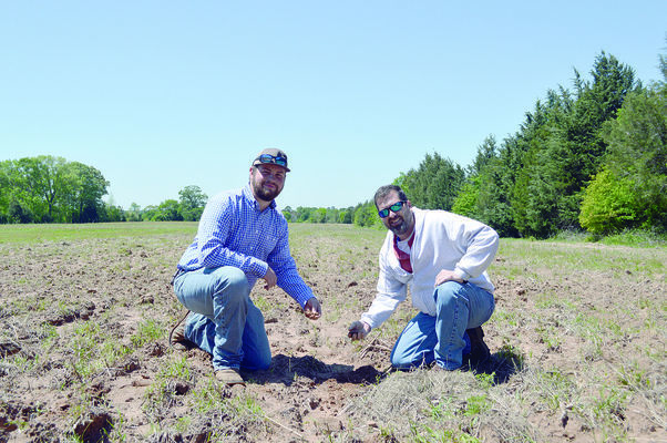 Tanner (left) has spent many hours replanting and restoring an unused field to quality grazing land for his cattle.  NRCS District Conservationist Jeff Brister (right) advises on the best grass type for the location and recommended grazing limits.