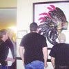 Photo by Cristin Parker Cherokee Trails Rehab and Healthcare Center residents enjoy a painting recently presented to the facility. The subject of the painting, done by a local artist, reflects the Cherokee people's heritage and honors the Rusk Eagles in its color scheme.