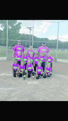 The Rusk Sassy Sluggers, Girls 6U T-Ball is headed to state playoffs. Pictured on the bottom row, left to right are Fernanda Bomer, Reece Dover, Aubri Dupree, Alli Dowling and Katy Walley. Middle row is Rebecca Hood, Kaylee Eason, Callie Covington, Kennidi Skinner, Carleigh Gunter and Kynlee Lindsey. On the back row are team coaches Brody Walley, Jana Eason, and head coach Matt Gunter.