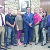 Courtesy Photo Rusk Independent School District board members pose with superintendent applicant Dr. Gray Burton, after naming him the district's lone finalist on Monday, Pictured, from left, are board members Jeff Johnson, Jake Ocker and Montie Sunday; Dr. Burton; and board members, Britt Patterson, Martin Pepin, Teresa Phifer and Tracey Session.