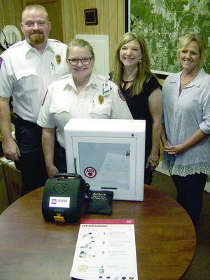 Photo by Cristin Parker From left, EMS Regional Director Hayden Ray and UT Health East Texas EMS Capt. Paulette Campbell present Rusk Library Director Amy Rinehart and Rusk Mayor Angela Raiborn with the city's new defibrillators in the city manager's office at Rusk City Hall last week. Not pictured is City Manager Jim Dunaway. The equipment, which was installed this week at four different city locations, was donated by UT Health East Texas EMS. Estimated cost of the equipment is $6,000.