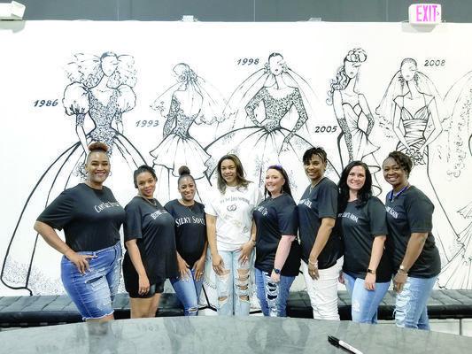 The ladies making up the 'Bride Squad' were, from left to right, Lisa Richmond, Rajone Lyman, Courtneey Williams, Amanda Jones, Josie Fox, Moniki Mason, Denise Barker and LaKeithia Horton