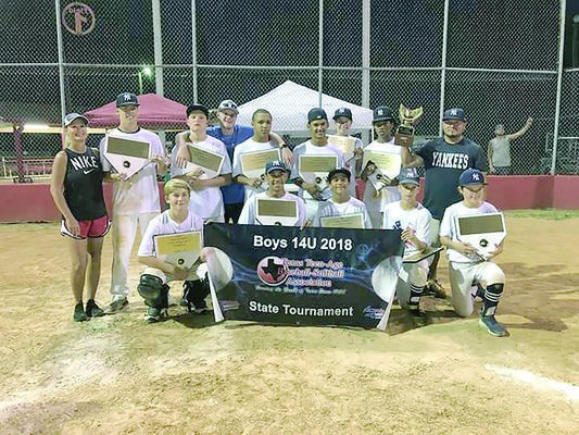 Photo shared by Texas Teenage Baseball-Softball Association via Facebook The Rusk Yankees bring home the state championship title for the Boys 14U Division following an undefeated week of tournament play. Team members included Zane Lofton, Trey Devereaux, Chris Perez, Bryce Grimes, Garrett Brooks, JD Thompson, Tristan Clay, Brayden Boudreaux, Wade Williams, Caleb Ferrara and Alex Jones. Team coaches are Octavio Perez, Xavier Devereaux, and Taylor Hamilton. Head coach for the Yankees was Kerri Taylor.