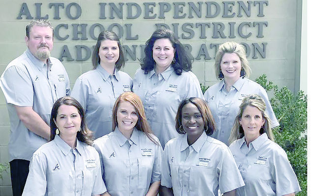 Courtesy photo Alto Independent School District's new administration team (back row, from left) Dimitri Starovic, Brandi Tiner, Kelly West, Misty Townsend, (front row, from left) Candis Mabry, Krystin Lucas, Shanequa Redd-Dorsey and Paula Low, are looking forward to a successful school year.