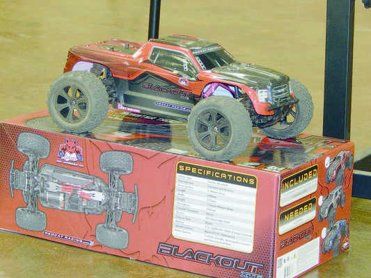 Photo by Josie Fox Pictured is an example of a remote control vehicle that will be available for rental at the proposed R/C race track in  Rusk. The Redcat Racing Blackout model is a one tenth scale, off road model with stock motors and six cell batteries. This model will run at an approximate speed of 20 mph out of the box and will be featured in a separate class at the track.