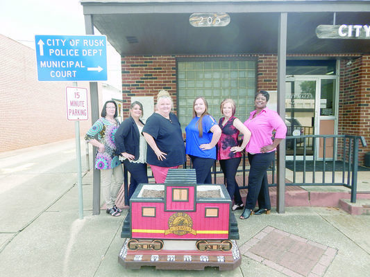 Photo by Josie Fox Pictured from left to right are Rusk City Hall employees Donna Perry, Beverly Lacy-Brister, Angela Rios, Brittany Stith, Pam Tyer and Rosalyn Brown.