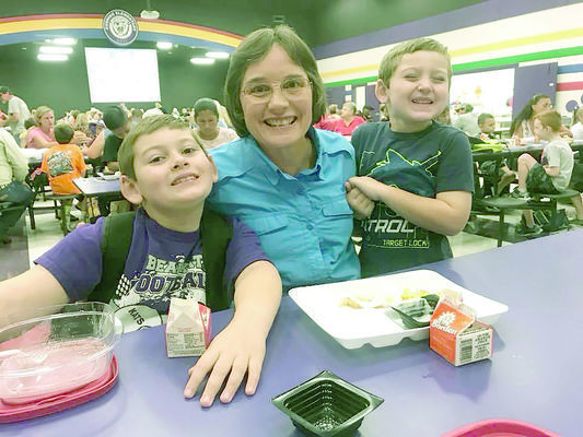 Rusk High School teacher Bettye Turney with her Bearkat grandsons during Cushing Elementary School's Grandparent Breakfast last week.