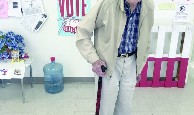 Cherokee County resident Houston White, 105, exercised his option to vote early during the recent 2018 general election.