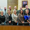 County officials were sworn into their respective offices on Jan. 1 at the courthouse. Elected officials taking office are, from left (back) Precinct 3 Justice of the Peace Judge Phillip Grimes, Precinct 2 Justice of the Peace Judge Tony Johnson, Precinct 4 County Commissioner Billy McCutcheon, County Surveyor Kris Morgan, County Judge Chris Davis, Precinct 4 Justice of the Peace Judge Rodney Wallace, Precinct 2 Commissioner Steven Norton, (front) Precinct 1 Justice of the Peace Judge Brenda Dominy, County Clerk Laverne Lusk, District Clerk Allison Dotson, County Treasurer Erin Curtis and County Court at Law Judge Janice Stone.