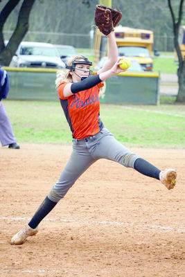 Courtesy Photo Wells' Lady Pirate Kendall Tucker pitched the second game of a double-header with Garrison Tuesday, Feb. 26.