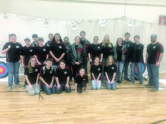 Photo by Megan Dover Rusk Archery team members pictured are (standing from left) Carson Corley, Tucker Goff, Dalton Martin, Jeran Driver, Jake Creamer, Dordane Johnson, Colleen Dover, Megan Rains, Mason Rains, Jordyn Goswick, Jo Micah Peterson, Emily Pierce, Colton Morris, Gabriel Bradshaw, Joe Eckel, (front row) Kennzie Norton, Hagen Hassell, Aubrey Hassell, Katee Morris, Jessica Humphries and Skylie Watson.