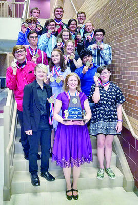 Courtesy photo The Talon Point Players, with Rusk High School Theater Arts/English IV teacher and director Catherine Gaertner (front, center) show off their medals and the bi-District award they recently won for their UIL One-Act Play, 'Terra Nova.'