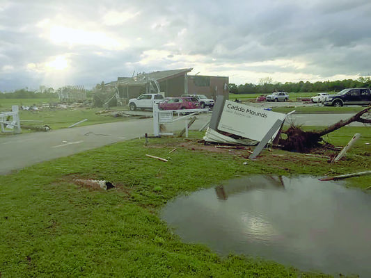 Courtesy Photo The Caddo Mounds Visitor Center sustained severe damage as the storm cell moved through east Texas on Saturday.