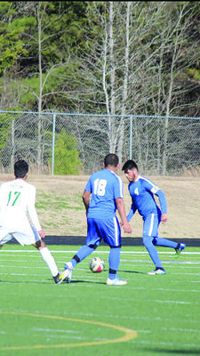 Jacksonville High School soccer players show some fancy footwork against Tatum in a recent game.