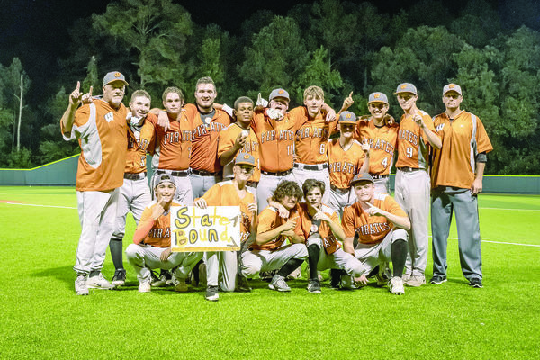 Photo by Nathan Johnson - Natejohnsonphoto.com Pirate Pride Never Dies! Wells Pirates baseball team mug for a team photo after beating LaPoynor, sending Wells to the State UIL baseball playoffs.