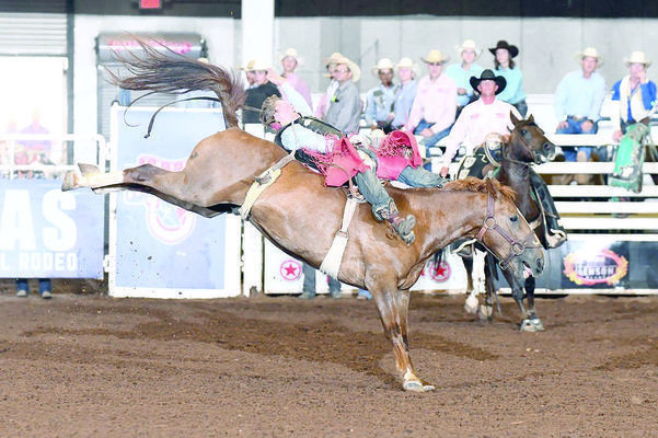 Courtesy photos Kolt Dement rides for the win during the Texas High School Rodeo Association's State Finals, held recently in Abilene.