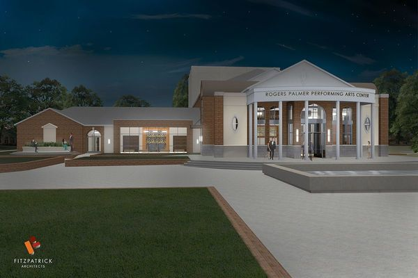 Photo credit: TJC graphic Architect's rendering of TJC's new Rogers Palmer Performing Arts Center.